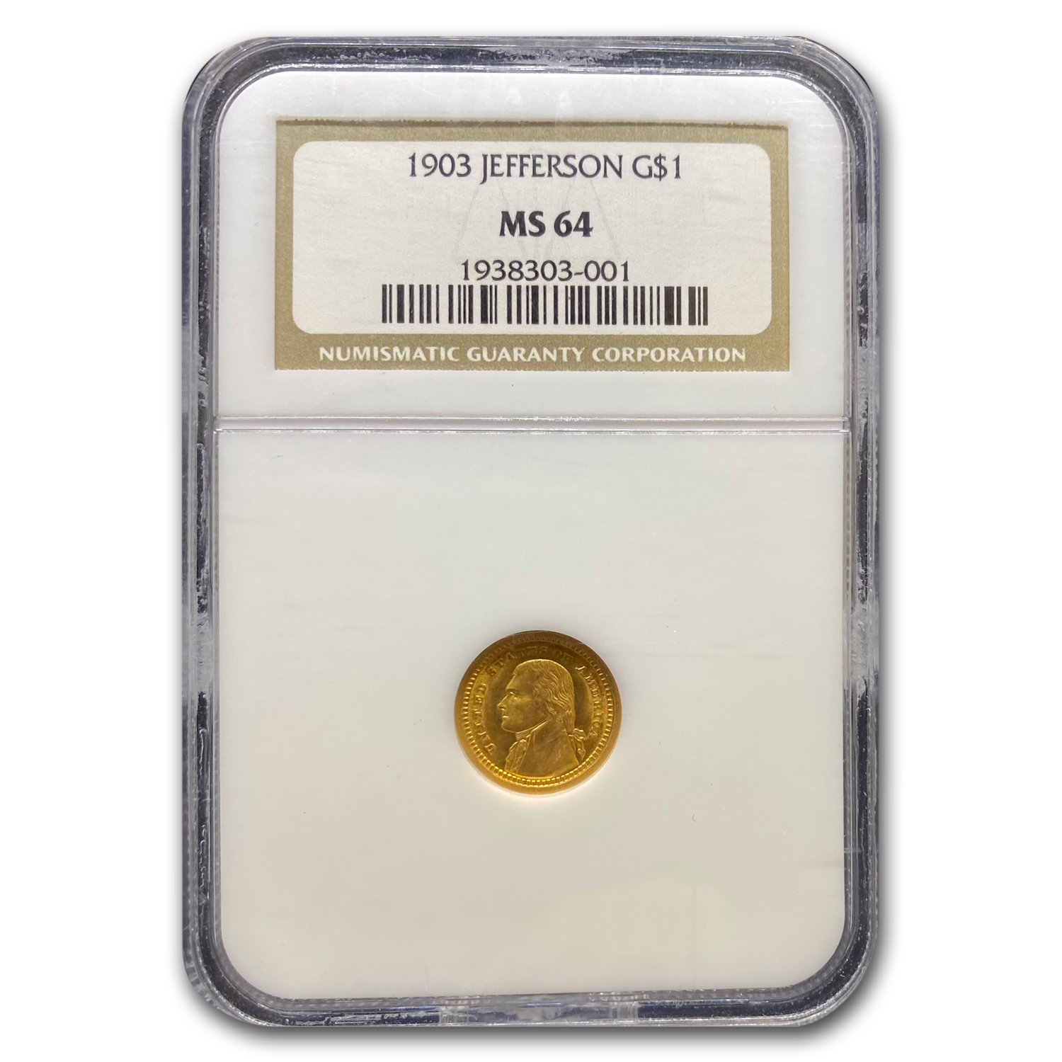1903 Gold $1.00 Louisiana Purchase Jefferson MS-64 NGC